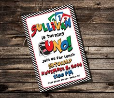 Uno first birthday invitation