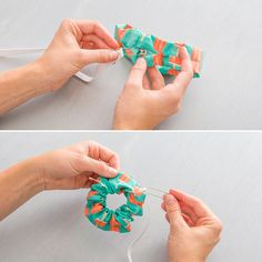 scrunchie-5 liga de cabelo Diy And Crafts Sewing, Easy Sewing Projects, Crafts To Sell, Sewing Tutorials, Fabric Crafts, Sewing Patterns, Diy Crafts, Free Tutorials, Diy Projects
