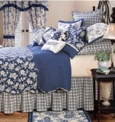 Cottage ♥ Blue & White Mixed Pattern Bedroom