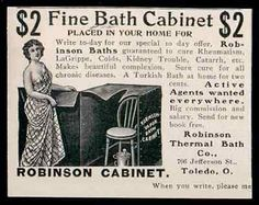 Robinson Bath Cabinet Cure for all Chronic Diseases Thermal Bath Toledo 1902 AD
