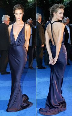 "Rosie Huntington-Whiteley in backless Burberry gown @ ""Transformers: Dark of the Moon"" UK Premiere Red Carpet Dresses, Satin Dresses, Elegant Dresses, Pretty Dresses, Sexy Dresses, Prom Dresses, Navy Blue Satin Dress, Satin Gown, Dresses For Formal Events"