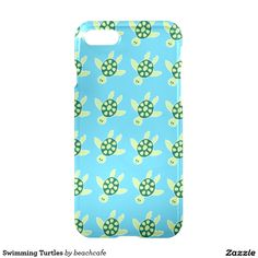 Swimming Turtles illustrated pattern on iphone 7 case, other models available.