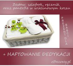 Elegancki zestaw upominkowy w wiklinowym koszu: szlafrok, pantofle oraz duży ręcznik to nasza kolejna propozycja podarunku dla Babci!  http://bit.ly/1Cp6H0b
