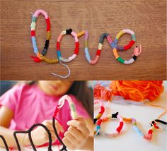wrap yarn around pipe cleaners to make yarn letters