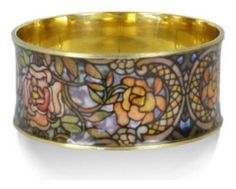 Gold Plated Brass Rose Window Leaded Glass Louis Comfort Tiffany Bangle Bracelet Authentic Reproduction Museum Jewelry, Comes With History Card, Matching Stack Bangles Available On Amazon From Our Museum Collection The Museum Store,http://www.amazon.com/dp/B00GH4L4Y4/ref=cm_sw_r_pi_dp_VVmltb0E69DZHSDE