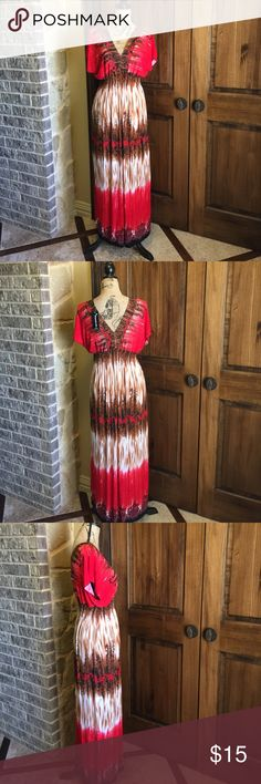 "Sundress Comfy lightweight 100% Polyester Sundress.  Measurements: size Medium, 52"" length from shoulder to hem.  With garment laid flat;  bust measures 20"", elastic waistband stretches up to 25"". On the larger side of medium. Dresses Maxi"