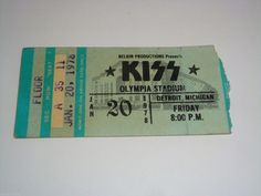 KISS 1978 TICKET STUB OLYMPIA STADIUM DETROIT MICHIGAN THE ROCKETS GENE SIMMONS | eBay