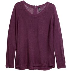H&M Knitted jumper (35 BRL) ❤ liked on Polyvore featuring tops, sweaters, shirts, jumpers, purple, zipper sweater, long-sleeve shirt, curved hem shirt, shirt sweater and purple sweaters