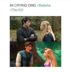 I pity the person who does not understand how hilariously perfect this is. Oh, Bellarke. How I heart you two. |The 100||CW||TV Shows||Bellamy Blake ||Clarke Griffin||Tangled||Humor||Flynn and Rapunzel funny|
