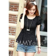 Short Sleeve Lace Splicing Scoop Neck Ladylike Style Blouse For Women