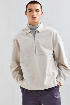 UO 1/4-Zip Over Shirt - Urban Outfitters