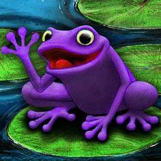 Purple Frog on a Bog Purple Cow, Purple Hues, Purple Rain, Shades Of Purple, Green And Purple, Henna Designs, Blackwork, Purple Animals, Funny Frogs