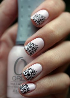 Orly Kiss the Bride + Bundle Monster stamp + black rhinestones  these nails would have matched my wedding cake!