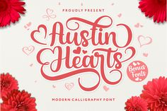 Austin Hearts (Font) by Holydie Studio · Creative Fabrica Handwritten Fonts, Calligraphy Fonts, Typography Fonts, Modern Calligraphy, Hand Lettering, Lettering Tutorial, Lettering Styles, Creative Fonts, Cool Fonts