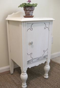 Antique end table painted with Annie Sloan Old White.