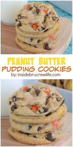 Soft and chewy peanut butter pudding cookies with chocolate chips and Reese's. Good luck not eating all of them! Soft and chewy peanut butter pudding cookies with chocolate chips and Reese's. Good luck not eating all of them! Brownie Desserts, Mini Desserts, Just Desserts, Delicious Desserts, Dessert Recipes, Yummy Food, Plated Desserts, Chocolate Desserts, Easy Cheap Desserts