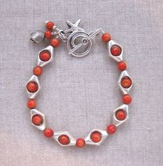 Coral Sea Coral and Silver Coastal Charm by SeaSideStrands