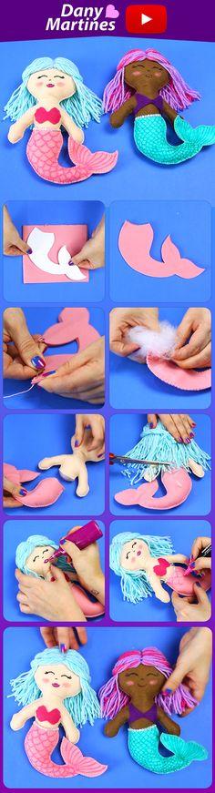 Faça você mesmo uma sereia de pano, feltro, para criança brincar, presente de menina, diy, do it yourself, boneca