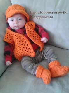 Crochet baby hunting outfit - Blaze orange cap, vest and booties with links to free patterns