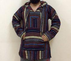 MOROCCAN Jacket BAJA JERGA Hoodie Woven Tribal Hippie Festival Fair Trade Size S