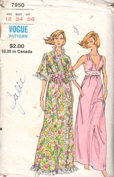 09da1ed14a Vogue 7950 1970s Misses Nightgown and Wrap Robe Pattern Bell Sleeves womens  vintage lingerie sewing pattern