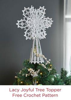 Lacy Joyful Tree Topper in Aunt Lydia's Crochet Thread Free Crochet Pattern for Christmas
