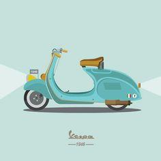 ● Vespa Logo, Motos Vespa, Lambretta Scooter, X Games, Digital Illustration, Comic Art, Graphics, Embroidery, Lifestyle