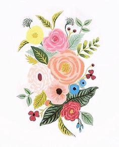 Peach/pink/rose/blue/green/yellow stripes and burgundy binding Folk Art Flowers, Flower Art, Flower Prints, Gouache Painting, Painting & Drawing, Floral Illustrations, Illustration Art, Scandinavian Folk Art, Guache