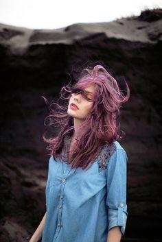 wind hair flowing pink
