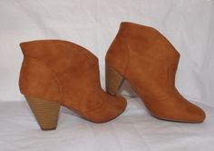 Women's Brown Suede Charlotte Russe Fashion Ankle Dress Boots Size 9 Medium #CharlotteRusse #FashionAnkle