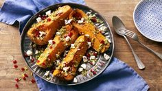 BBC Food - Recipes - Butternut squash with Persian pistachio pesto, feta and pomegranate seeds