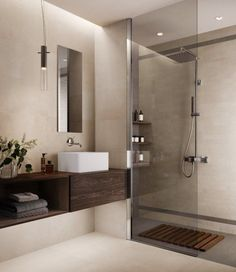 "Tile concrete look large format beige ""Ritual Sand"" – Bad – # … - Modern Beige Bathroom, Bathroom Renos, Small Bathroom, Master Bathroom, Concrete Bathroom, Bathroom Flooring, Modern Bathroom Design, Bathroom Interior Design, Baño Color Beige"