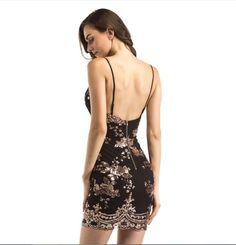 2aa76c0600dc Buenos Ninos women dress V-collar Strap Backless sequin party sexy dress  floral print sleeveless.