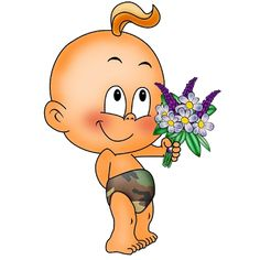 Baby With Flowers - Funny Baby Images