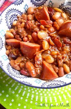 South Your Mouth: Three Meat Crock Pot Cowboy Beans Crockpot Dishes, Crock Pot Slow Cooker, Crock Pot Cooking, Slow Cooker Recipes, Crockpot Recipes, Soup Recipes, Cooking Recipes, Healthy Recipes, Frijoles Charros