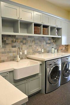 """""""View and collect Laundry Room design ideas at Zillow Digs."""" """"View and collect Laundry Room design ideas at Zillow Digs."""" """"View and collect Laundry Room design ideas at Zillow Digs. Laundry Room Design, Laundry In Bathroom, Basement Laundry, Bathroom Plumbing, Basement Flooring, Ideas For Laundry Room, Laudry Room Ideas, Small Laundry Area, Laundry Room Counter"""