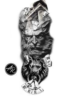 Leg Sleeve Tattoo, Tribal Sleeve Tattoos, Leg Tattoo Men, Tattoo Sleeve Designs, Tattoo Designs Men, Zeus Tattoo, Poseidon Tattoo, Statue Tattoo, Dark Tattoo