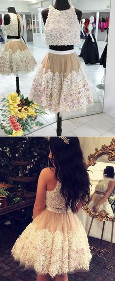 Cute Homecoming Dress, Two Piece Homecoming Dress, Jewel Champagne Homecoming Dress, Homecoming Dress with ApplIques, Fashion Homecoming Dress,  Mini Homecoming Dress for Girls