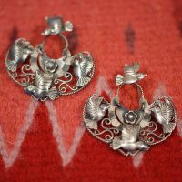 Frida Kahlo Style Earrings, Silver with Filagree, Oaxaca, Mexico