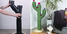 DIY: made a beautiful cat tree shaped cactus (Tutorial) Cactus, Diy Cat Tree, Cat Hacks, Shabby Home, Diy Dog Bed, How To Make Rope, Cat Scratching Post, Look Boho, Cat Furniture