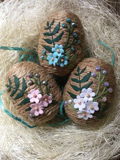Easter egg, Jute Easter egg, Easter decor, Spring bouquet Easter egg, Handmade Easter, Easter basket filler, by WobblyWelliesStudio on Etsy https://www.etsy.com/listing/510697757/easter-egg-jute-easter-egg-easter-decor