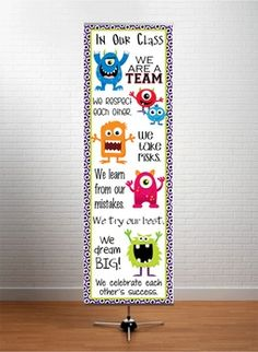 MONSTERS - Classroom Decor: X-LARGE BANNER, In Our Class... Monster Bulletin Boards, Monster Theme Classroom, Classroom Decor Themes, Classroom Organisation, Space Classroom, Classroom Ideas, Classroom Dojo Rewards, Classroom Welcome, Welcome To School