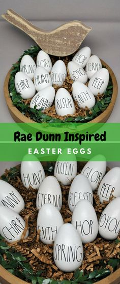 Incredible Decorate your home with these cute Rae Dunn inspired easter eggs. Great rustic farmhouse easter decor for your home. The post Decorate your home with these cute Rae Dunn inspired easter eggs. Great rustic f… appeared first on 99 Decor . Hoppy Easter, Easter Eggs, Easter Crafts, Easter Decor, Easter Ideas, Holiday Fun, Holiday Crafts, Rustic Home Design, Easter Party