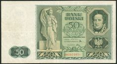 Bank Polski, 50 zlotych, 11 November 1936, serial number AW0852951, green, standing woman at left, man at top right, crowned eagle at low right, reverse with allegorical figures