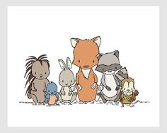 Woodland Nursery Art Print Wild Bunch by SweetMelodyDesigns