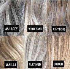 Blonde Color Tone Chart - All For Hair Color Balayage Gray Hair Highlights, Platinum Highlights, Heavy Highlights, Hair Color And Cut, Hair Color Names, Hair Images, Balayage Hair, Ash Blonde Balayage Short, Medium Ash Blonde Hair