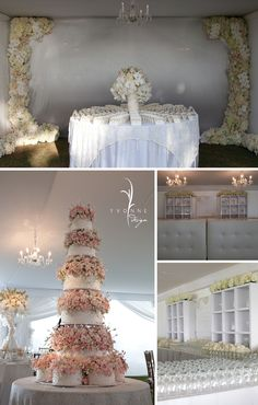 Tall Wedding Cake - minus the small round cakes on the bottom, and different flowers. Definitely wont need that much cake, can some of the middle tiers be styrofoam? Tall Wedding Cakes, Wedding Cake Fresh Flowers, Floral Wedding, Cake Flowers, Rose Wedding, Wedding Bells, Plan Your Wedding, Wedding Planning, Dream Wedding