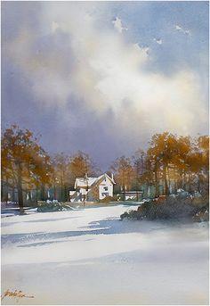 """Home"" thomas w schaller : watercolor 22 x15 inches 22 dec. 2014"