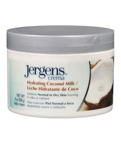 Jergens Crema Hydrating Coconut Milk:  Summer may be over, but you'll still get lingering whiffs of it from the addicting scent of this lightweight, nongreasy body cream infused with coconut milk for maximum moisture.