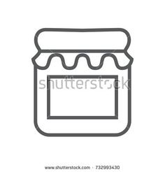 Vector outline illustration of empty jar icon